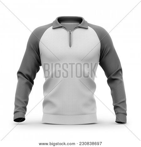 Men's zip neck pullover with raglan sleeves, rubber cuffs and collar. Front view. 3d rendering. Clipping paths included: whole object, collar, sleeve, zipper.
