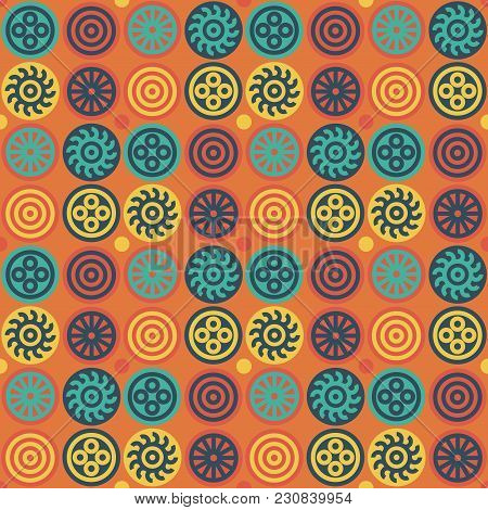 Encrypted Symbols Seamless Pattern. Authentic Design For Digital And Print Media.