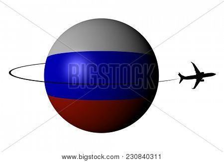 Russian Federation flag sphere with plane silhouette and swoosh 3d illustration