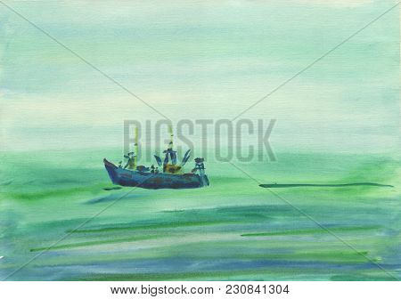 Watercolor Background. Funny Boat Floating On The Sea Through The Haze. Cloudy Calm Day