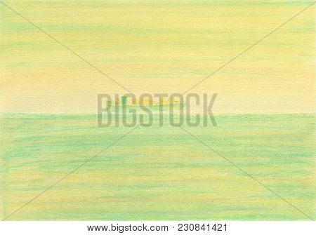 Watercolor Background. Cargo Ship Floating On The Sea Horizon Through The Haze. Cloudy Calm Day