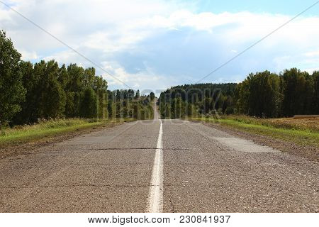 Asphalt Road In The Country In Siberia