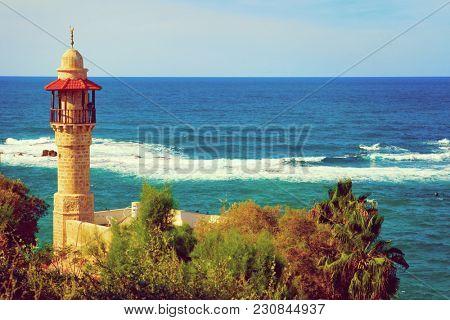 Al Bahr mosque sea view in Tel Aviv, Israel