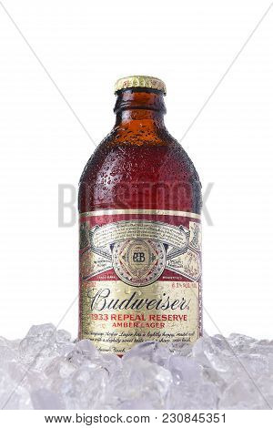 Irvine, Ca - March 12, 2018: Bottle Of Budweiser 1933 Repeal Reserve Amber Lager In Ice. Budweiser I