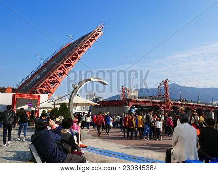 Busan South Korea - 3 November 2017 : Yeongdodaegyo Bridge Is The First And Only Drawbridge In South