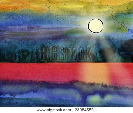 Fantasy Watercolor Seascape With Sun, Sunbeams, Skyline And Wave. Indian Ink Drawing With A Pen On P