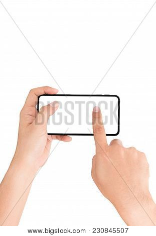 Hand Holding Cellphone And Finger Touching On White Screen