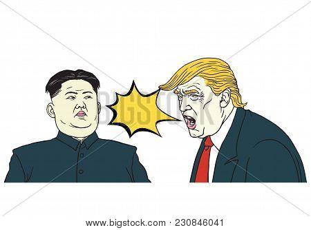 Donald Trump Vs Kim Jong-un. Vector Portrait Cartoon Illustration. March 13, 2018