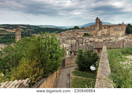 View to the old town of Urbino, Italy. The historical part of the city is listed as UNESCO World Heritage