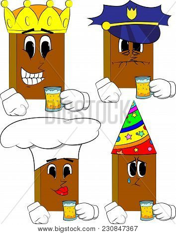 Books Drinking Beer. Cartoon Book Collection With Costume Faces. Expressions Vector Set.