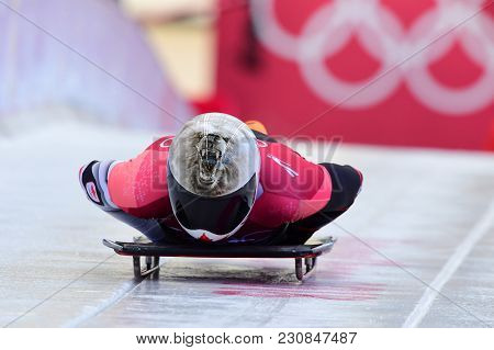 Pyeongchang, South Korea - February 14, 2018: Dave Greszczyszyn Of Canada Competes In The Skeleton M