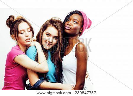 Diverse Nation Girls Group, Teenage Friends Company Cheerful Having Fun, Happy Smiling, Cute Posing