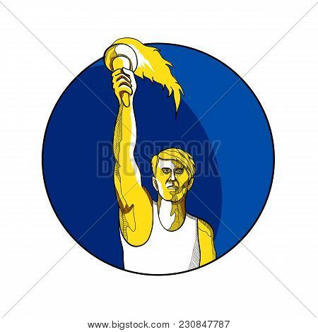 Drawing Sketch Style Illustration Of A Track And Field Athlete Raising Up A Flaming Torch With Burni