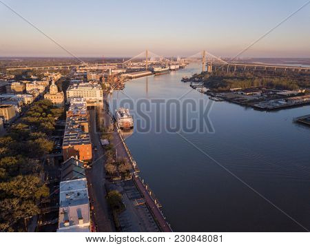 Aerial view of downtown Savannah, Georgia and River Street.
