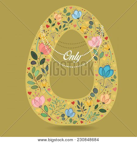 Yellow Letter O With Folk Floral Decor. Colorful Watercolor Flowers And Plants. Small Hearts. Gracef