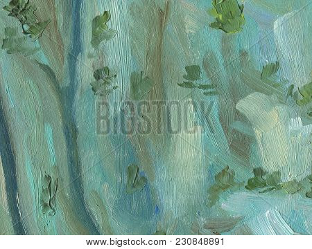 Big Overlapping Brushstrokes Of Oil Painting Texture. Abstract Cliff Wall In Green Gray Warm Colors.