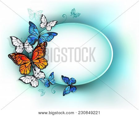 Oval Light Banner Adorned With Orange Butterflies By Monarchs And Blue Butterflies Morpho. Morpho. M