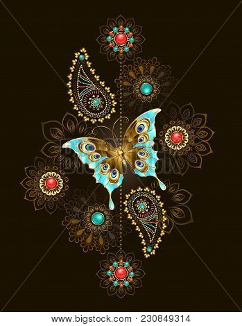 Asymmetric Pattern With Precious Turquoise Butterfly And Abstract Jewelery Colors Adorned With Turqu