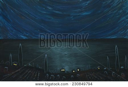 Night In A Seaside Village. Houses With Lights In The Windows. There Is Wide Moon Walk On The Sea Su
