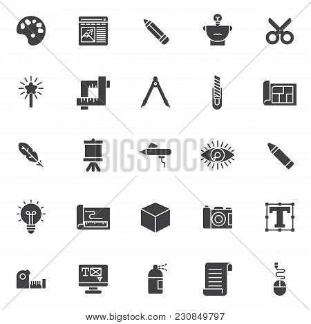 Drawing Tools Vector Icons Set, Modern Solid Symbol Collection, Filled Style Pictogram Pack. Signs,