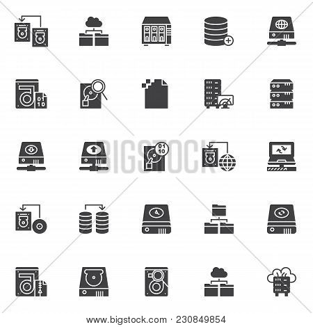 Data Recovery Vector Icons Set, Modern Solid Symbol Collection, Filled Style Pictogram Pack. Signs,