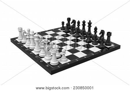 3d Rendering Of A Chess Board With A Full Set Of Figures In The Starting Position. Board Games. Busi