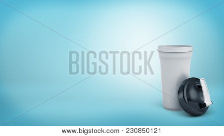3d Rendering Of A Single White Shaker Bottle Stands On A Blue Background With A Black Lid Leaning On