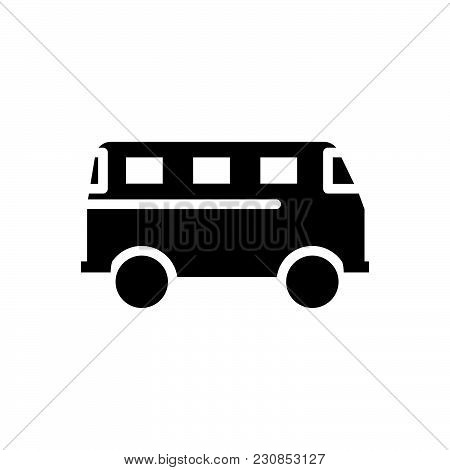 Moving Bus Vector Icon On White Background. Moving Bus Modern Icon For Graphic And Web Design. Movin