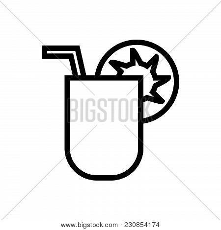 Summer Cocktail Vector Icon On White Background. Summer Cocktail Modern Icon For Graphic And Web Des