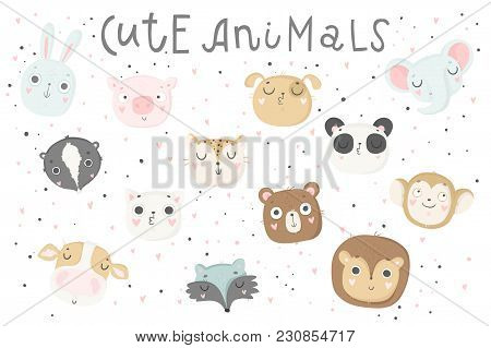 Cute Animals Isolated Illustration For Children. Vector Image. Perfect For Nursery Posters, Patterns