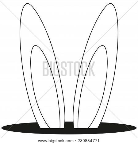 Line Art Black And White Rabbit Ears Hole Icon Poster. Coloring Book Page For Adults And Kids. Easte
