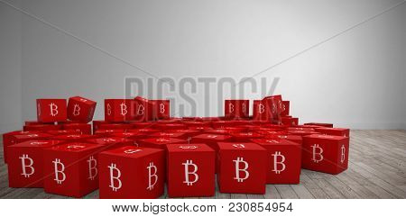 Several red cube with bit coin sign on each side against digital room