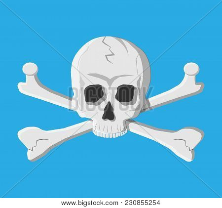 Death Skull And Crossbones. Deads Head. Pirate, Danger, Poison Symbol. Vector Illustraton In Flat St