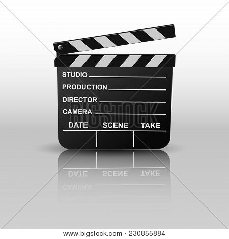 Movie Clapper Board Open Isolated. Vector Illustration