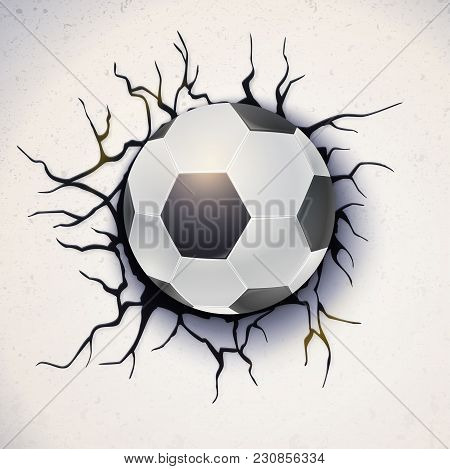 Football Ball On The Background Of A Broken-down Wall With Cracked Plaster. Soccer Ball Damaged The