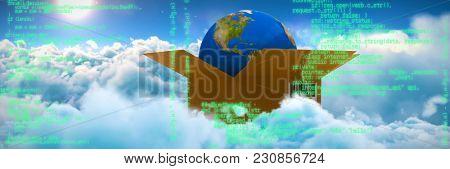 Blue program against scenic view of bright sun over white cloudscape