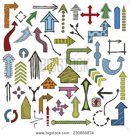 Colored Hand Drawn Sketched Arrows In Different Shapes Set. Doodle Arrows Collection. Vector Illustr