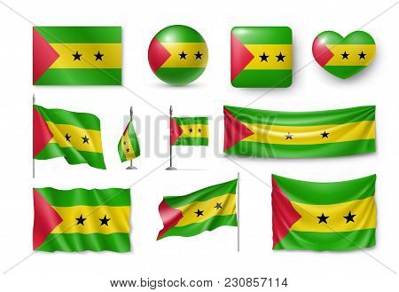 Set Sao Tome And Principe Flags, Banners, Symbols, Flat Icon. Vector Illustration Of Collection Of A
