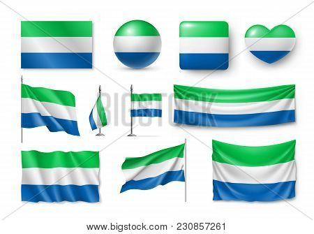 Set Sierra Leone Flags, Banners, Symbols, Flat Icon. Vector Illustration Of Collection Of African Na