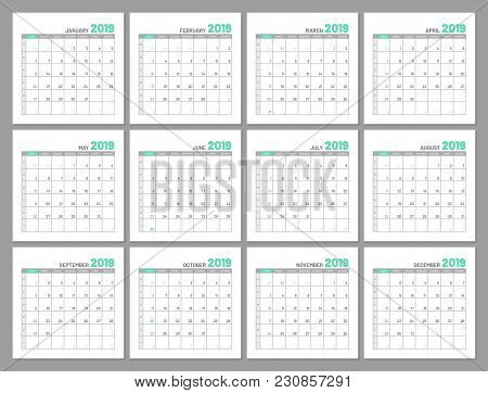 Set Identical Light Calendars, 2019, Months, Flat. Diary For Notes, Scheduling, Marks Of Important D