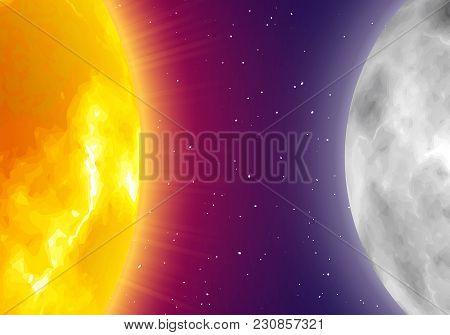 Moon And Sun, Night Sky Background, Realistic Style. Star And Planet Of Solar System In Galaxy. Vect