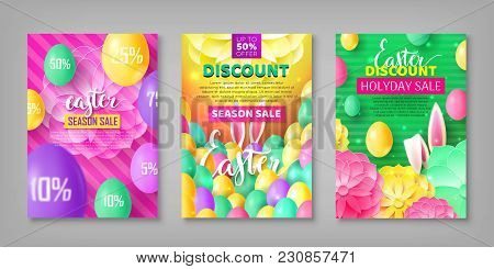 Easter Banner Set. Collection Of Stickers On Festive Theme With Eggs, Rabbit Ears. Vector Illustrati