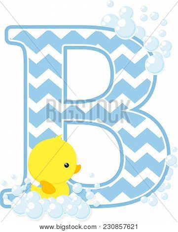 Initial B With Bubbles And Little Baby Rubber Duck Isolated On White Background. Can Be Used For Bab