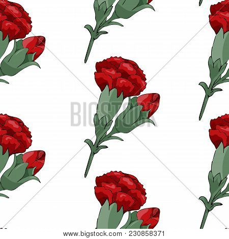 Vector Image. Seamless Pattern With Red Carnations Flowers On A White Background. Stock Vector.