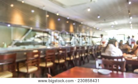 Blur Background Of Sushi Restaurant In Tokyo Japan