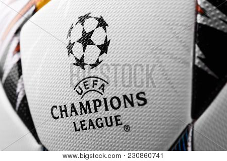 Kiev, Ukraine - February 22, 2018: Official Adidas 2018 Champions League Final Soccer ball
