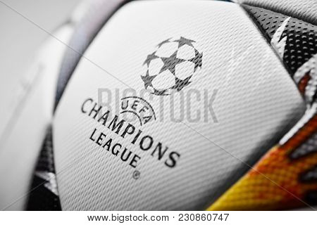 Kiev, Ukraine - February 22, 2018: Champions League official ball on which the stars are painted in blue and yellow colors, symbolizing the Ukrainian flag.