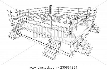 Boxing Ring. Vector Rendering Of 3d. Wire-frame Style. The Layers Of Visible And Invisible Lines Are