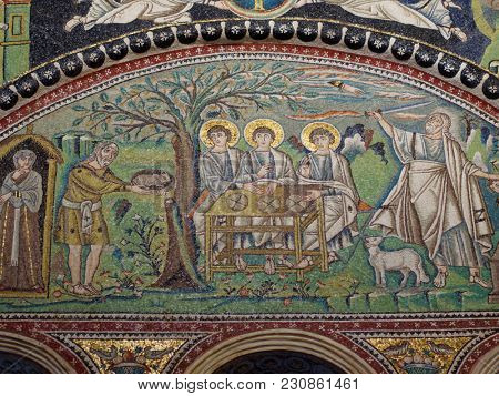 RAVENNA, ITALY - JUNE 15, 2017: Mosaics in Basilica of San Vitale. Built in VI century, it is listed as the UNESCO World Heritage