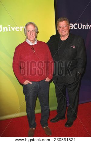 Henry Winkler and William Shatner arrive at the 2018 NBCUniversal Winter Press Tour at The Langham Huntington Hotel in Pasadena, California on January 9, 2018.